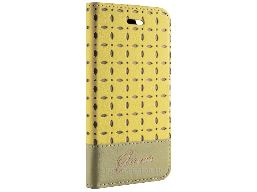 Чехол-книжка Guess Gianina для Apple iPhone5, кожа / пластик, желтый